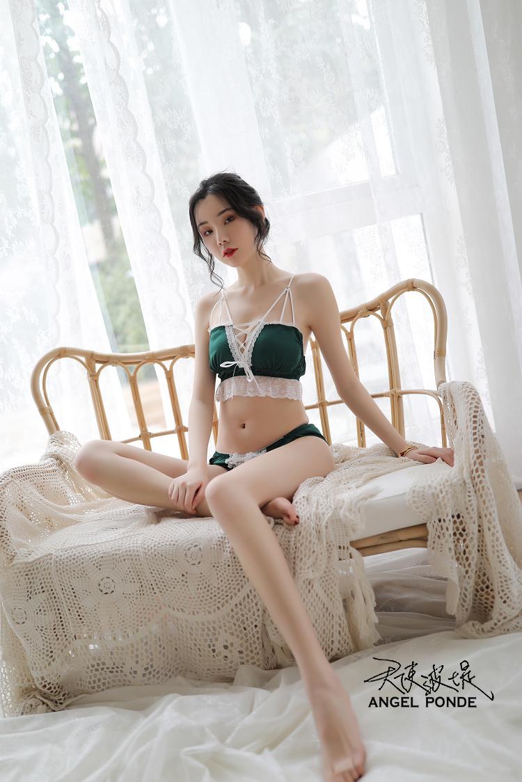 天使波堤【LD0487】穿繩蕾絲花邊小可愛網襪吊帶褲緞面居家大尺碼二件式睡衣-灰色(共三色)
